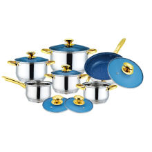 12pcs Cookware Set with Blue Glass Stainless Steel